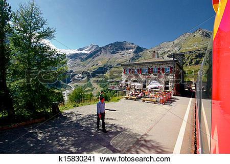 Stock Photography of Bernina Express station by glacier k15830241.