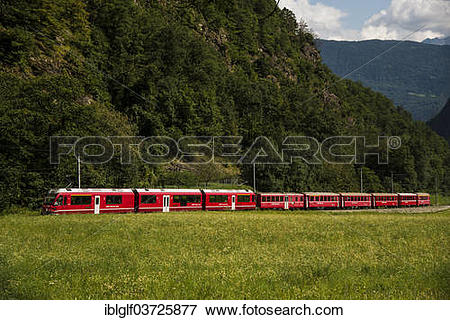 "Picture of ""Rhaetian Railway, Bernina Express, near Brusio, Canton."