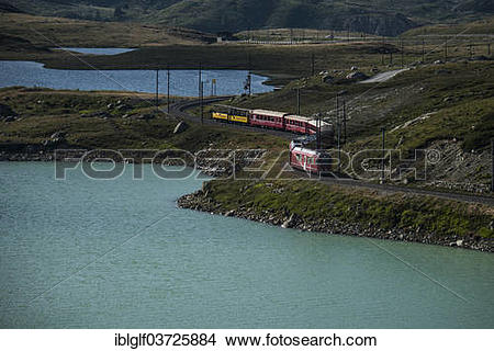 "Stock Photo of ""Bernina Express, Raethische Bahn, at Lago Bianco."