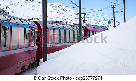 Picture of Bernina Express, railway between Italy and Switzerland.