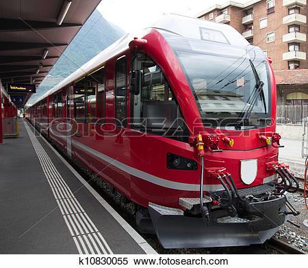 Stock Image of Swiss mountain train Bernina Express k10830055.