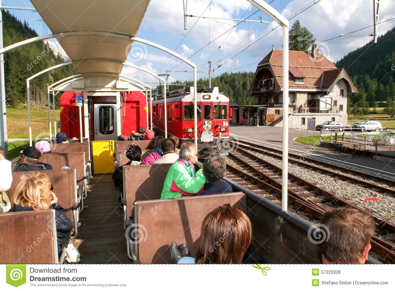Bernina Express Train, Unesco World Heritage Editorial Stock Photo.