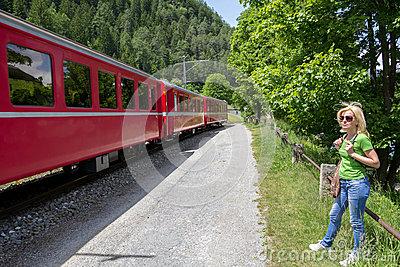 Swiss Mountain Train Bernina Express Stock Images.