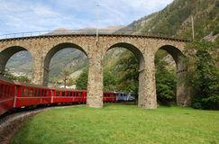 Bernina Railway Circular Viaduct, Brusio, Switzerland Stock Photo.