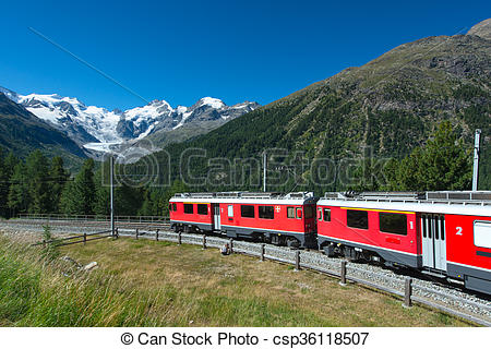 Stock Photography of Swiss mountain train Bernina Express crossed.