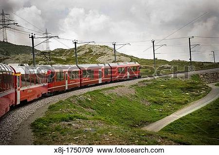 Stock Photograph of Switzerland, Canton Grisons, Bernina express.