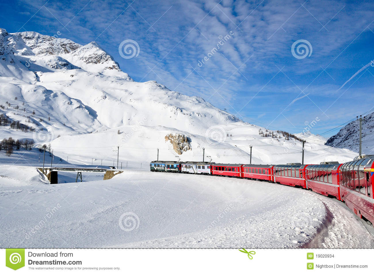 Bernina Express In Winter Time Editorial Stock Image.