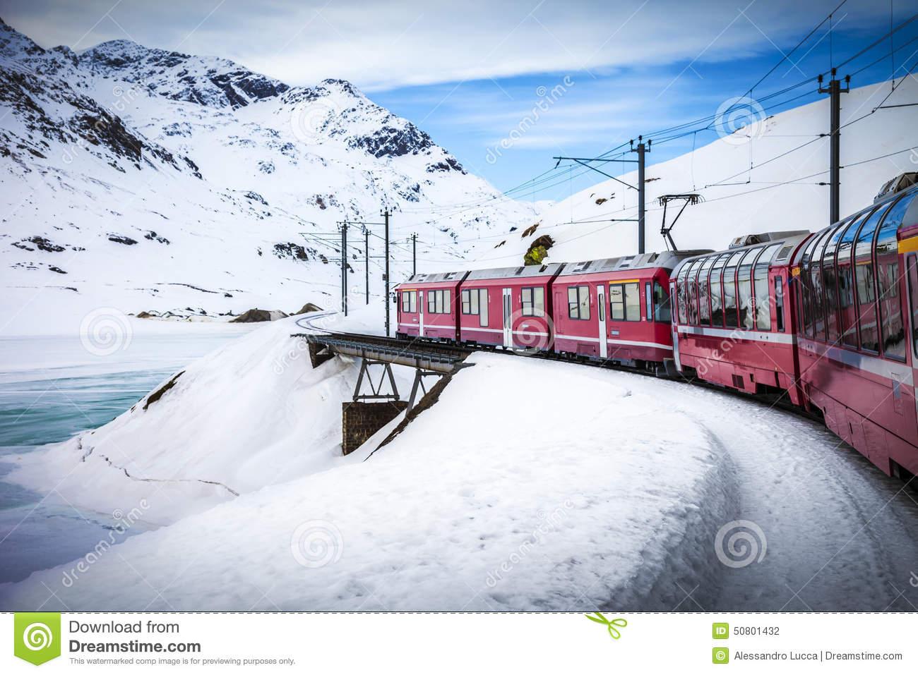 Bernina Express, Railway Between Italy And Switzerland Stock Photo.