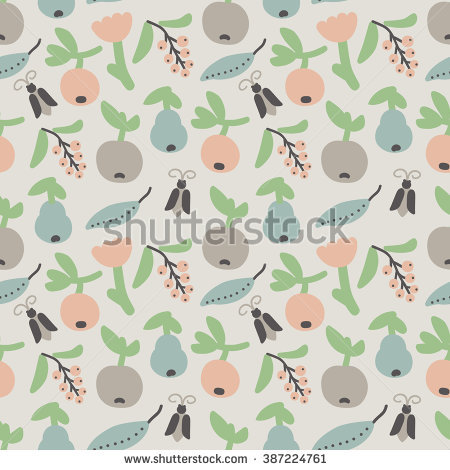 Seamless Pattern With Cute Plants, Berries, Fruit And Bugs. Vector.