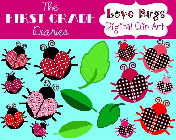The First Grade Diaries: Love Bug Valentine Lady Bug Clip Art.