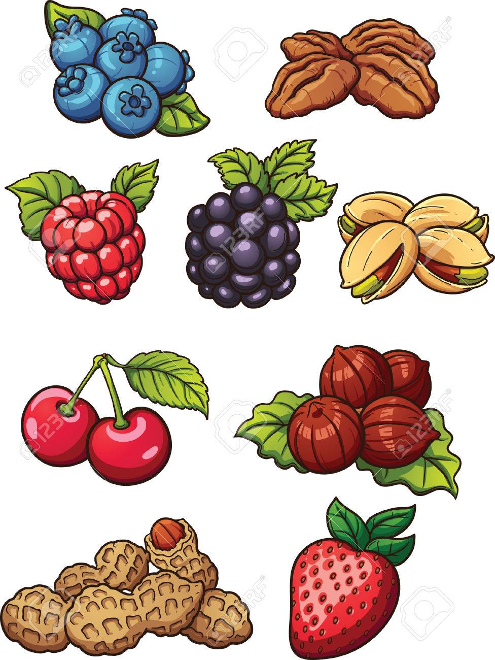 Cartoon nuts and berries. Vector clip art illustration with simple...