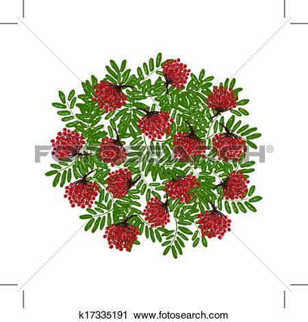 Clipart of Rowan branch with berries, frame for your design.