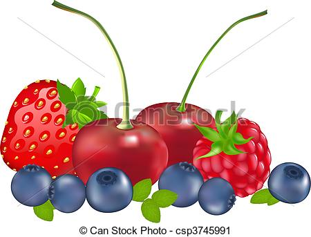 Vector Clip Art of Set Of Berries (Strawberry, Blueberry.