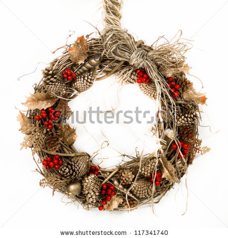 A Natural Twig Wreath Is Decorated With Pine Cones, Red Berries.