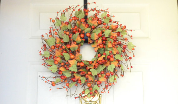 Orange Fall Wreath Fall Berry Wreath Autumn Thanksgiving.
