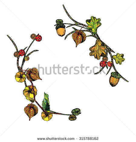 Berry And Twig Wreath Clipart.