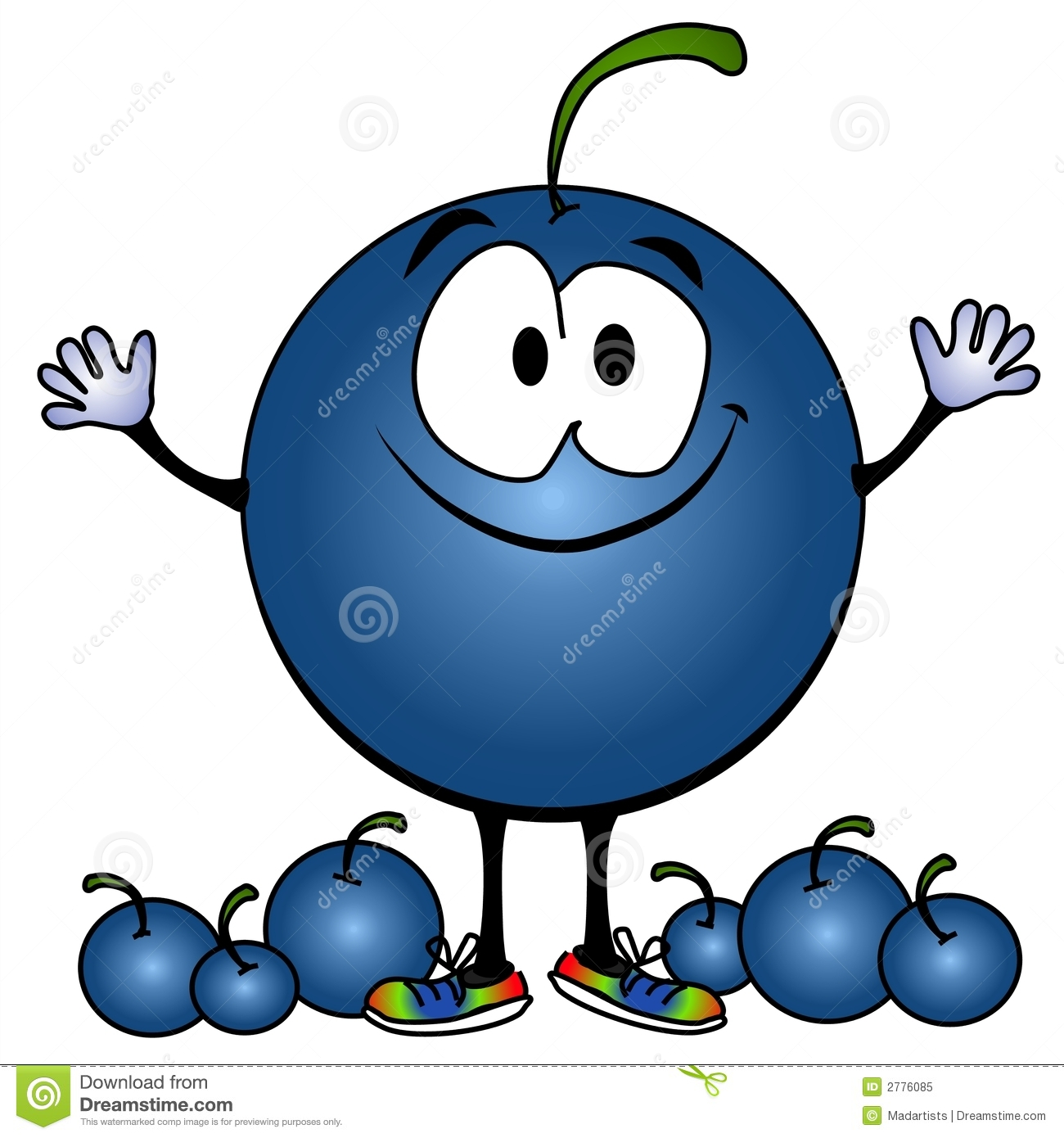Smiling Blueberry Cartoon Face Royalty Free Stock Photo.