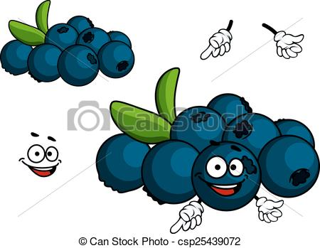 Vectors Illustration of Cartoon Blueberry character.