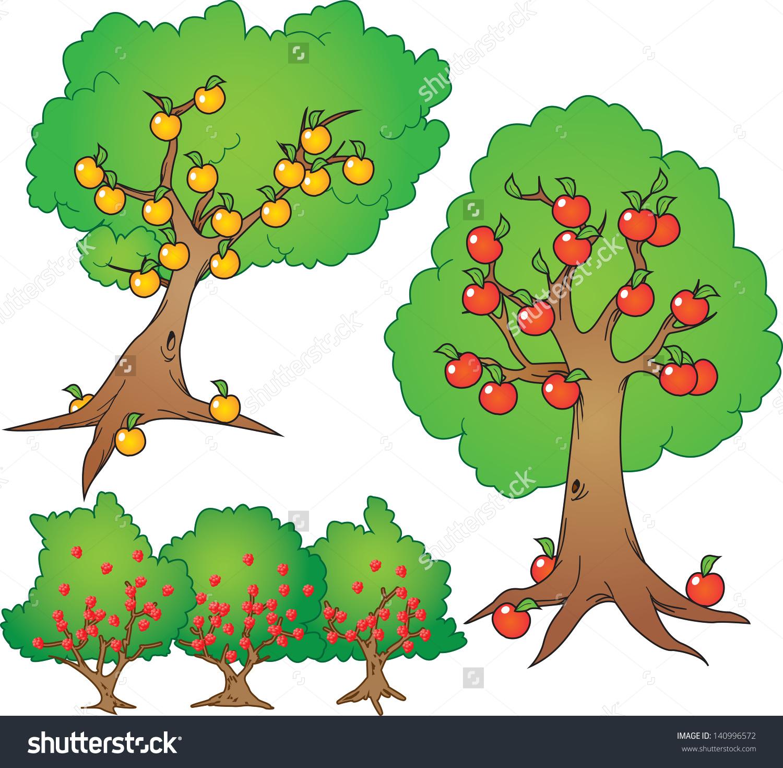 Apple Orange Tree Wild Berry Bush Stock Vector 140996572.