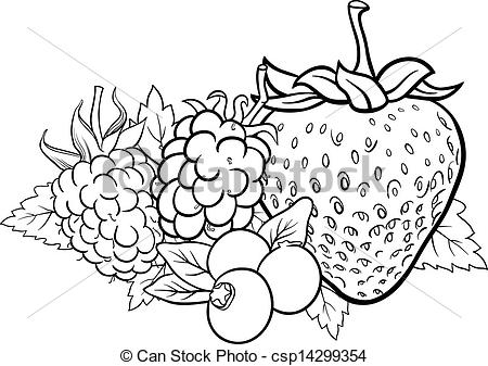 Clipart Vector of berry fruits illustration for coloring book.