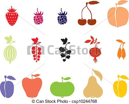 Clip Art Vector of Fruits and Berries.