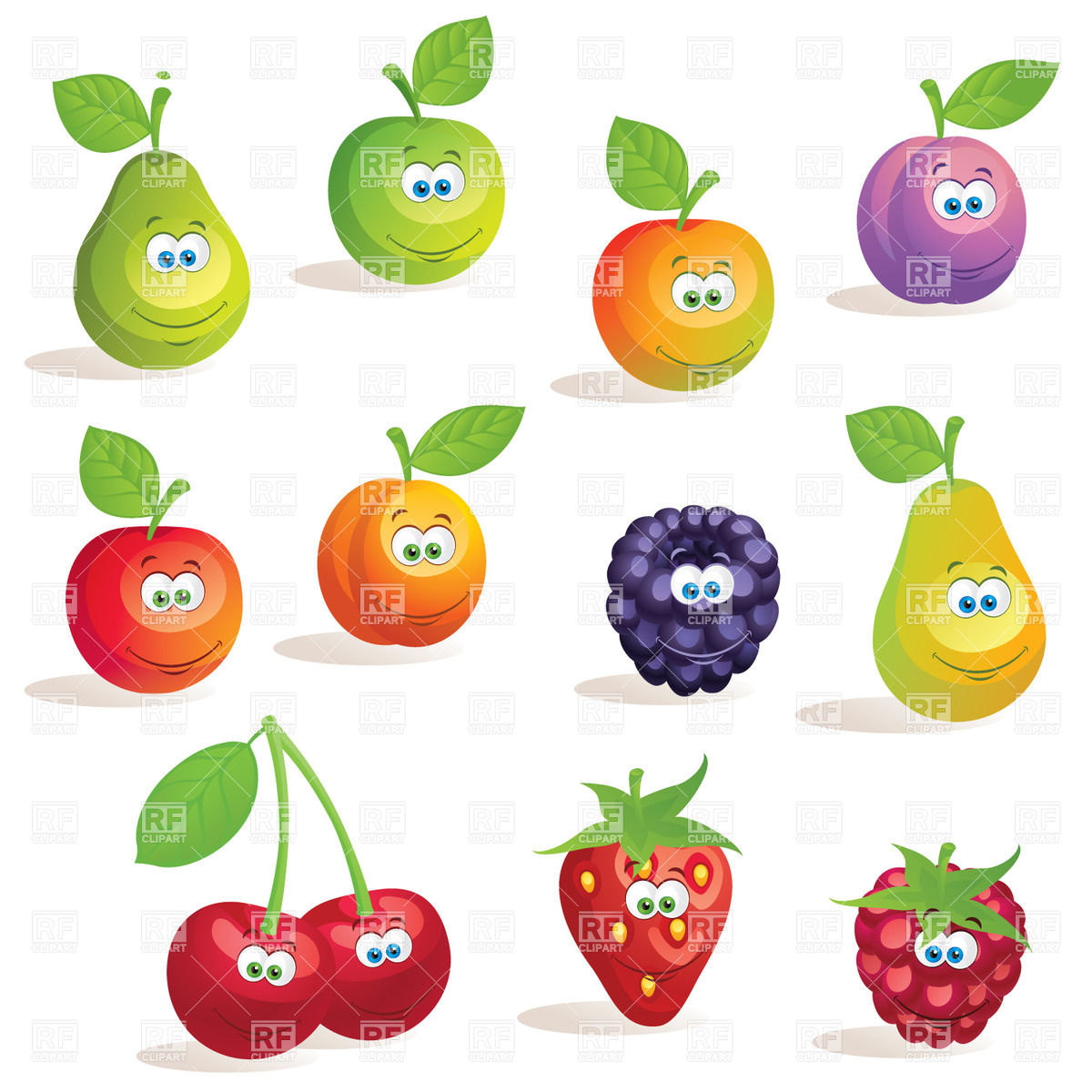 Funny cartoon fruits and berries Vector Image #29437.