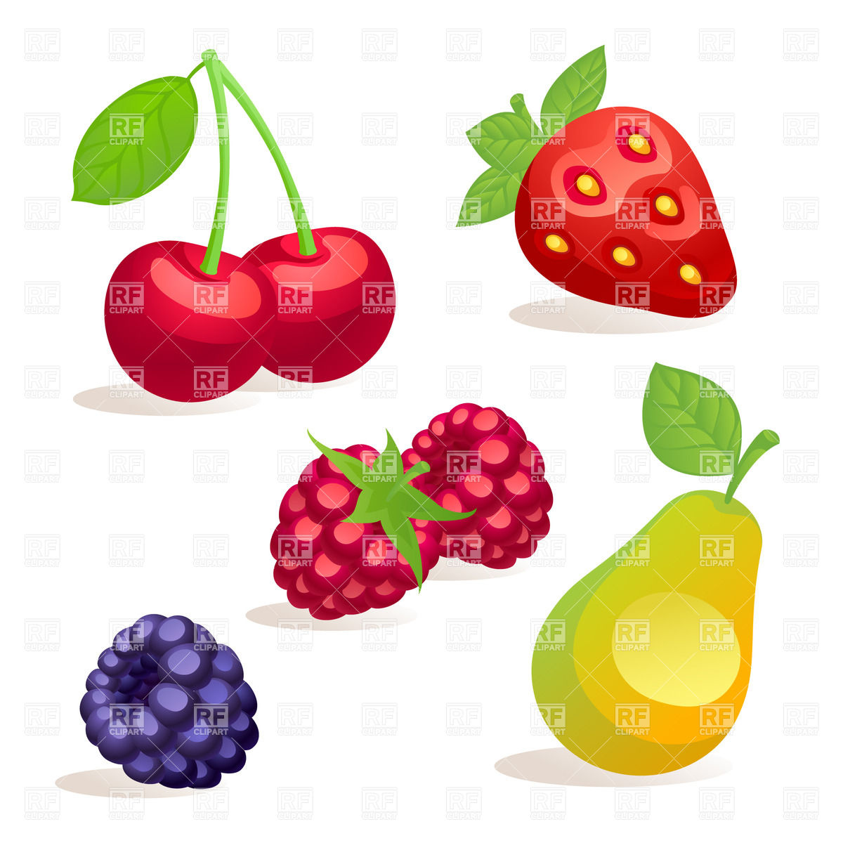Collection of cartoon fruits and berries Vector Image #29465.