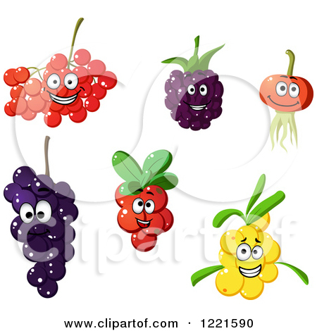 Clipart of Happy Cranberry Blackberry Rowan Cherry Grape and Sea.