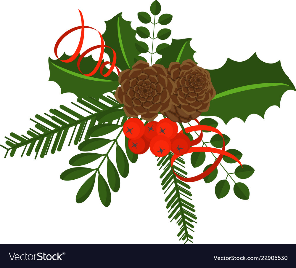 Holly berry branch for christmas wreath and.