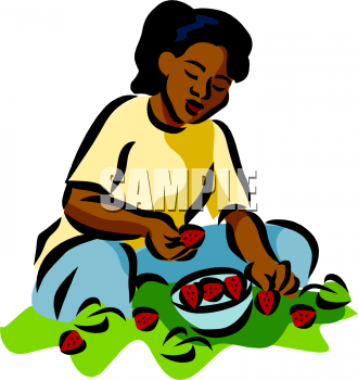 Strawberry picking clipart.