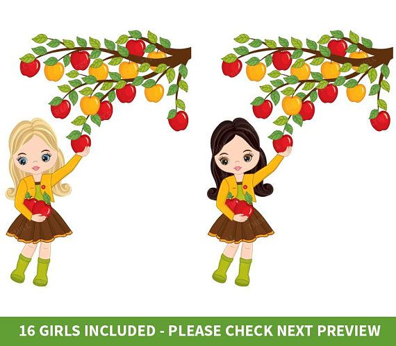 Girls Picking Apples Clipart Vector Apples Clipart Girls.