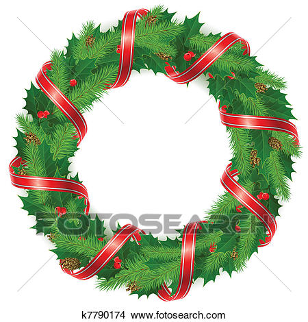 Holly berry wreath with ribbon Clipart.