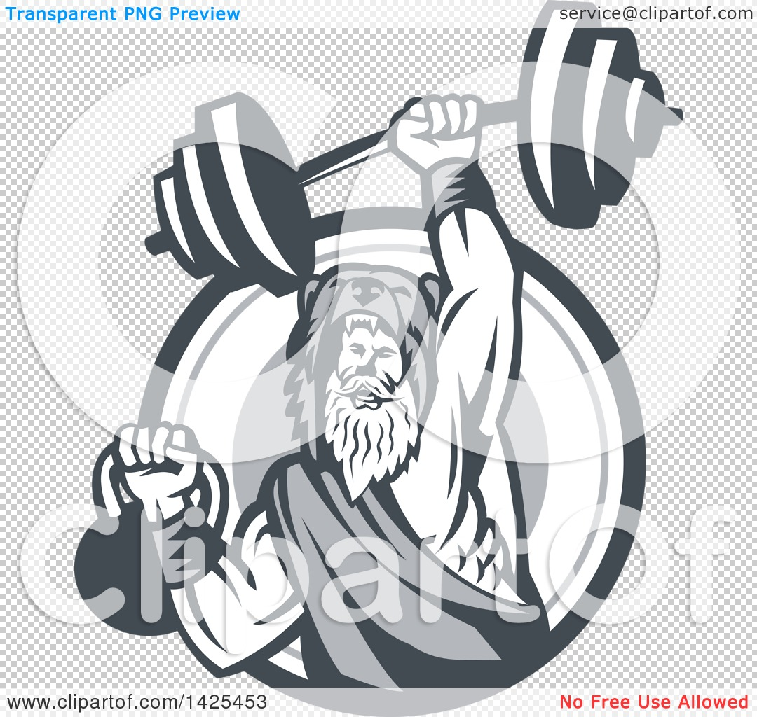 Clipart of a Retro Male Champion Norse Warrior, Berserker, Wearing.