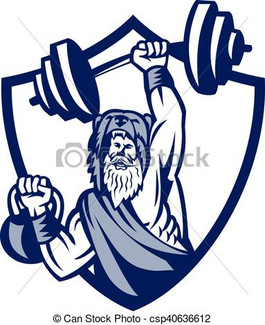 Vector Clip Art of Berserker Lifting Barbell Kettlebell Crest.