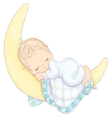 Baby Sleeping On Moon Clipart.