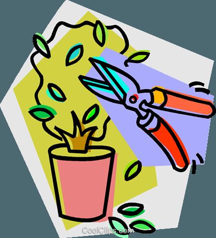 Beschneiden einer Topfpflanze Vektor Clipart Bild.