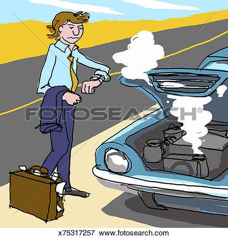 Stock Illustration of Man standing besides broken down car on.
