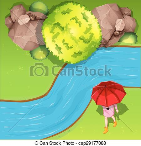 Vector of Walking besides river aerial illustration csp29177088.