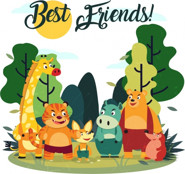 Best friends banner cute stylized animals icons Free vector.