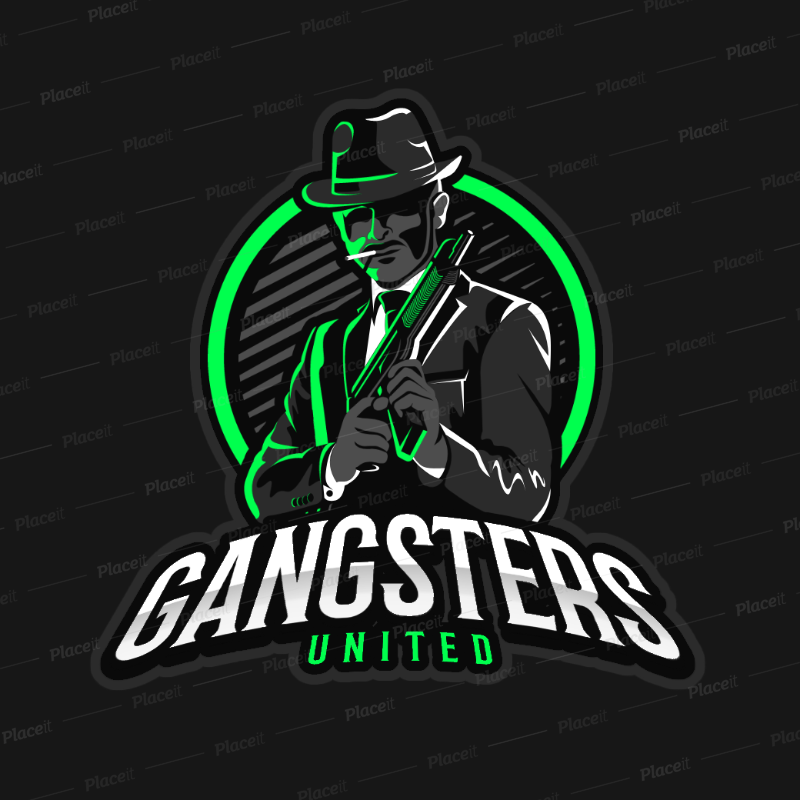 Gaming Logo Maker Featuring a Suited Mafia Gangster Clipart 383o 2290.