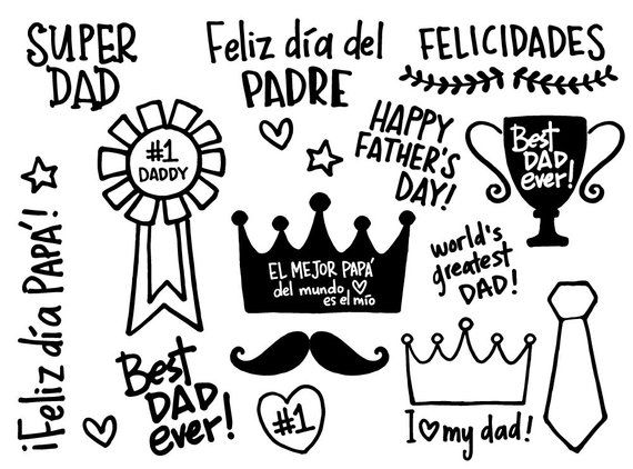 Father\'s Day Chalkboard, white Chalk Clipart Words, crown.