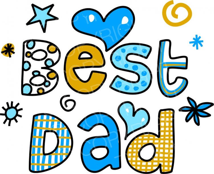 Best Dad Decorative Doodle Cartoon Text Clipart.