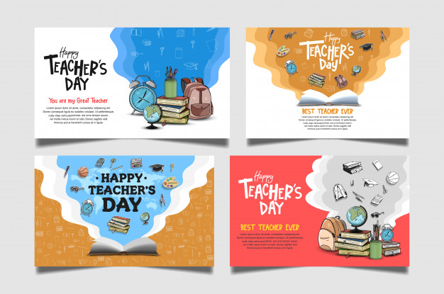 Happy teachers day banner collection Vector.