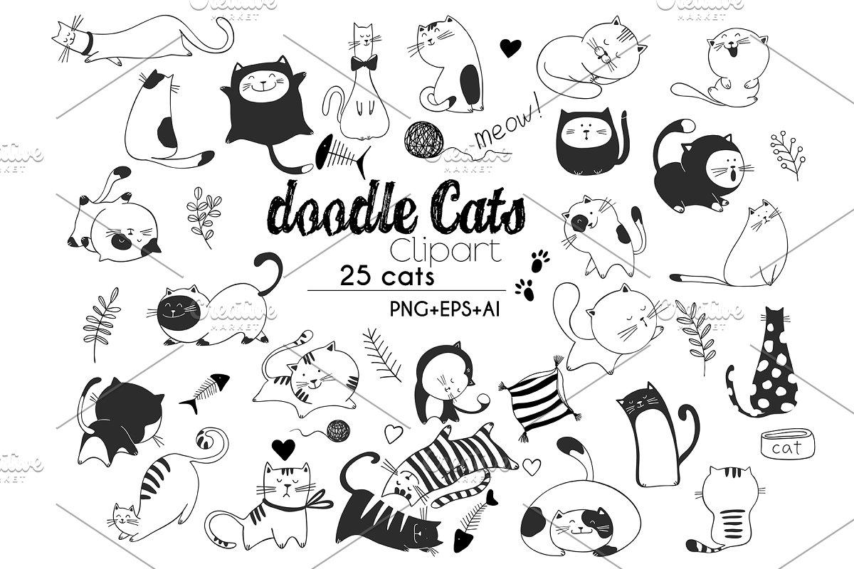Doodle Cats HandDrawn vector clipart.