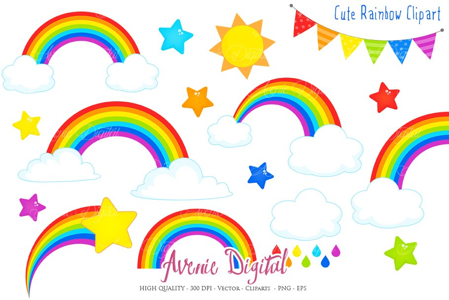 Cute Rainbow Clipart + Vector.