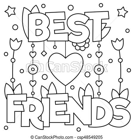 Best friends. Coloring page. Vector illustration..