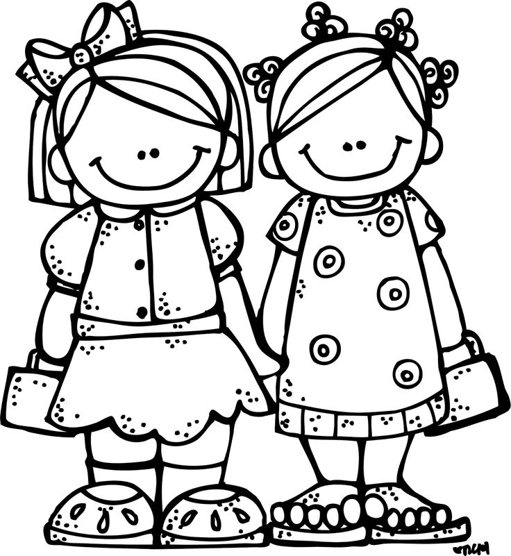 Black And White Best Friends Clipart.