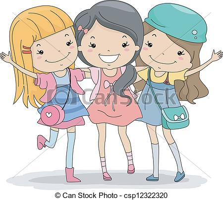 Three best friends clipart.