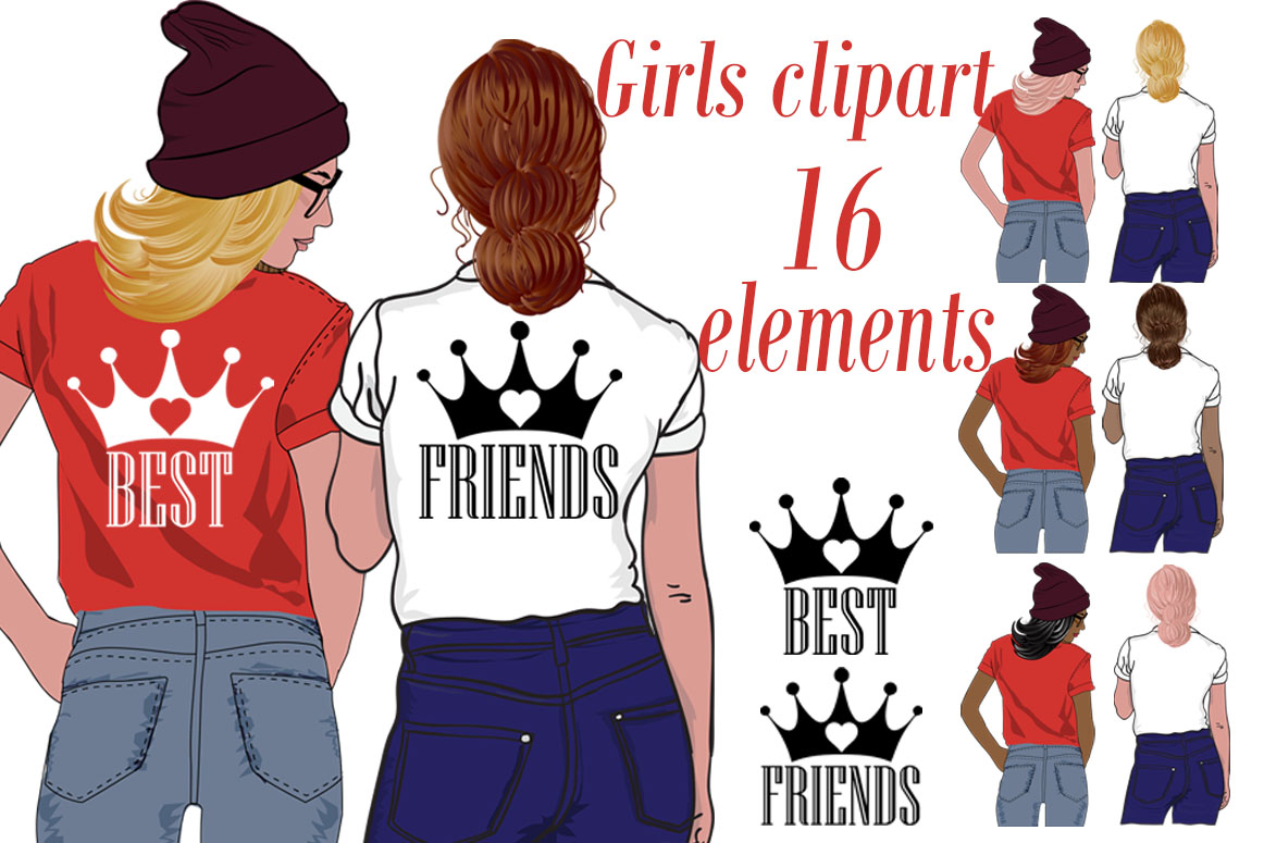 Best Friends Clipart,Girls clipart,Custom besties clipart.