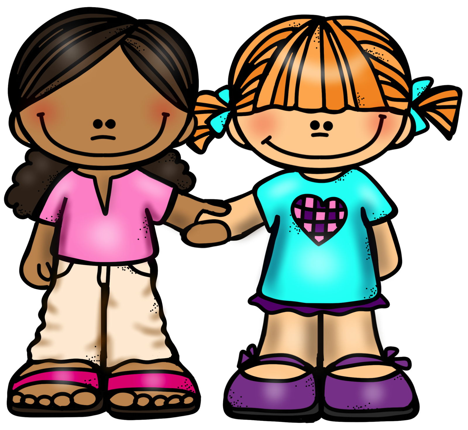 2 Friends Holding Hands Clipart.